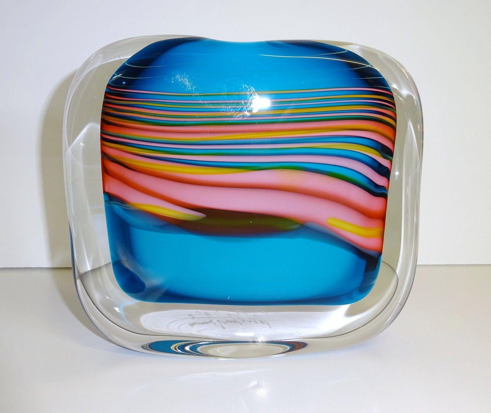 Blue blown glass 'Skyline' Vase signed by artist Peter Layton   eBay