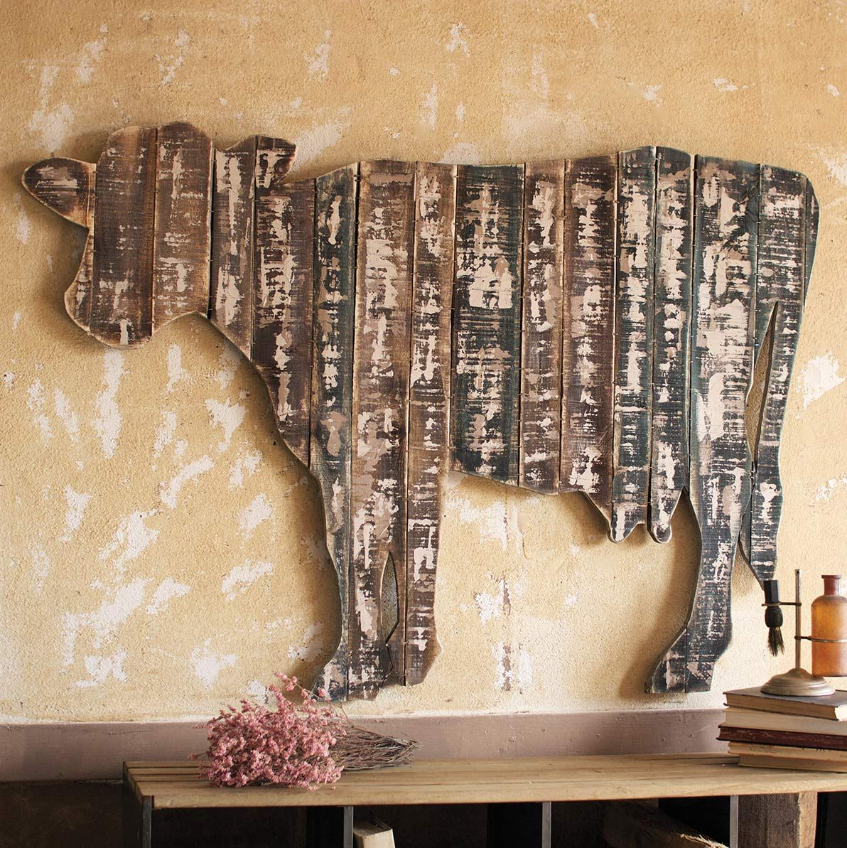 Reclaimed Wood Cow Wall Hanging Barn Wood Projects Cow Wall Art Cow Decor