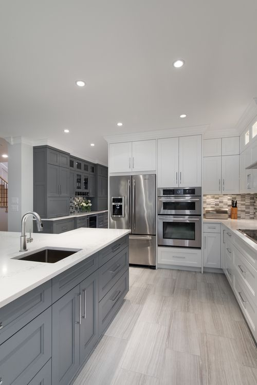 Exceptionnel ... Gray, White, Kitchen, Gray Cabinets, White Cabinets, White Countertop,  Stone Flooring   Interior Design Of A Home In Richmond, BC By AK Interiors.