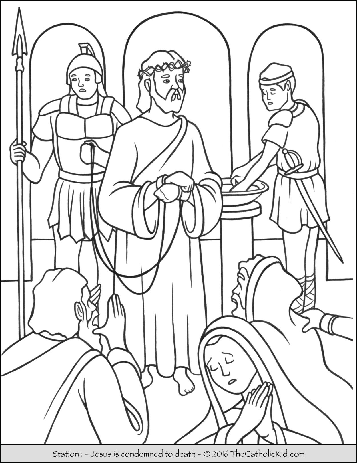 Stations of the Cross Coloring Pages 1 - Jesus is condemned to death ...