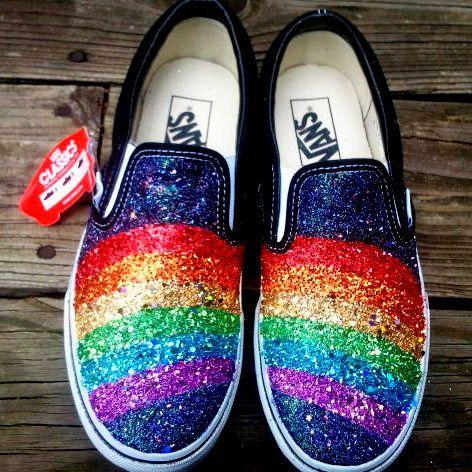 Rainbow glitter Vans