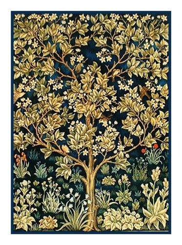 William Morris Tree Of Life Detail From Tapestry Counted