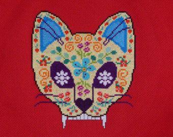 Sugar Skull Cross Stitch Pattern by DevosGardenKitchen on Etsy