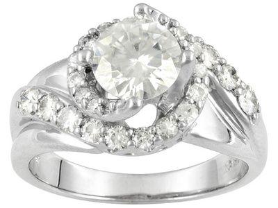 Moissanite Fire Tm 1 80ct Diamond Equivalent Weight Round Platineve Tm Swirl Ring Moissanite Jewelry Buy Jewellery Online Jewelry