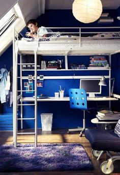 great high bed with desk underneath | Teen boy bedrooms | Boys ...