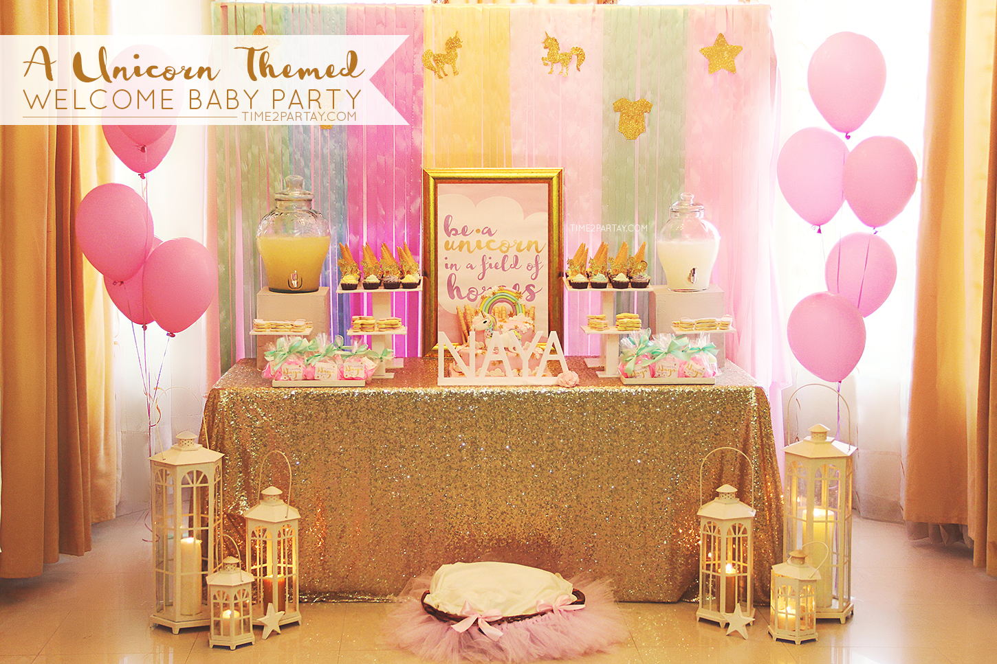 Babyzimmer inspiration ~ A unicorn themed welcome baby party time2partay.com unicorn