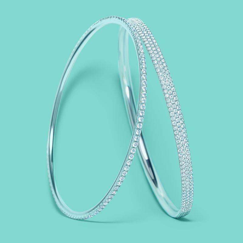 Tiffany Metro diamond bangles in 18k white gold TiffanyPinterest
