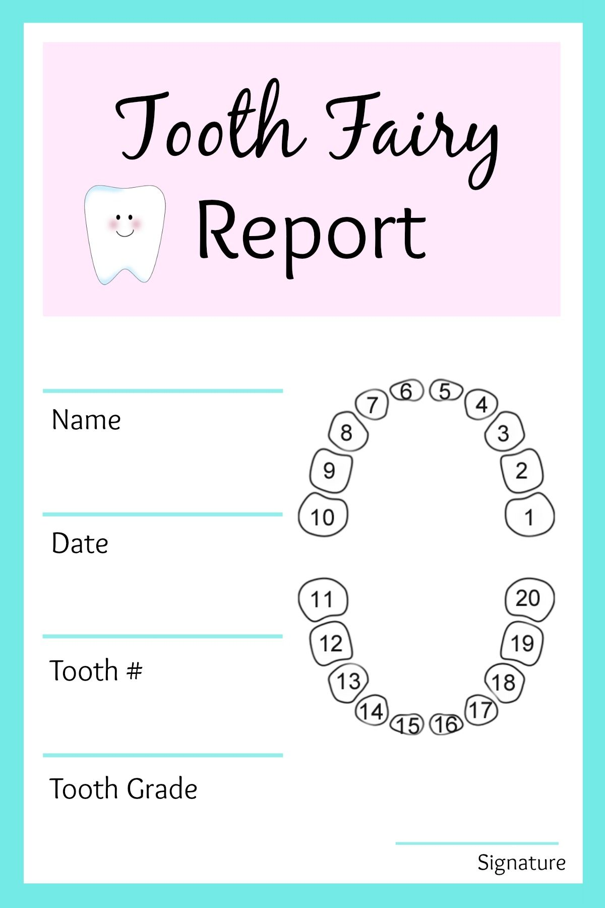 Tooth Fairy Report Jpg 1 200 1 800 Pixels Tooth Fairy Letter
