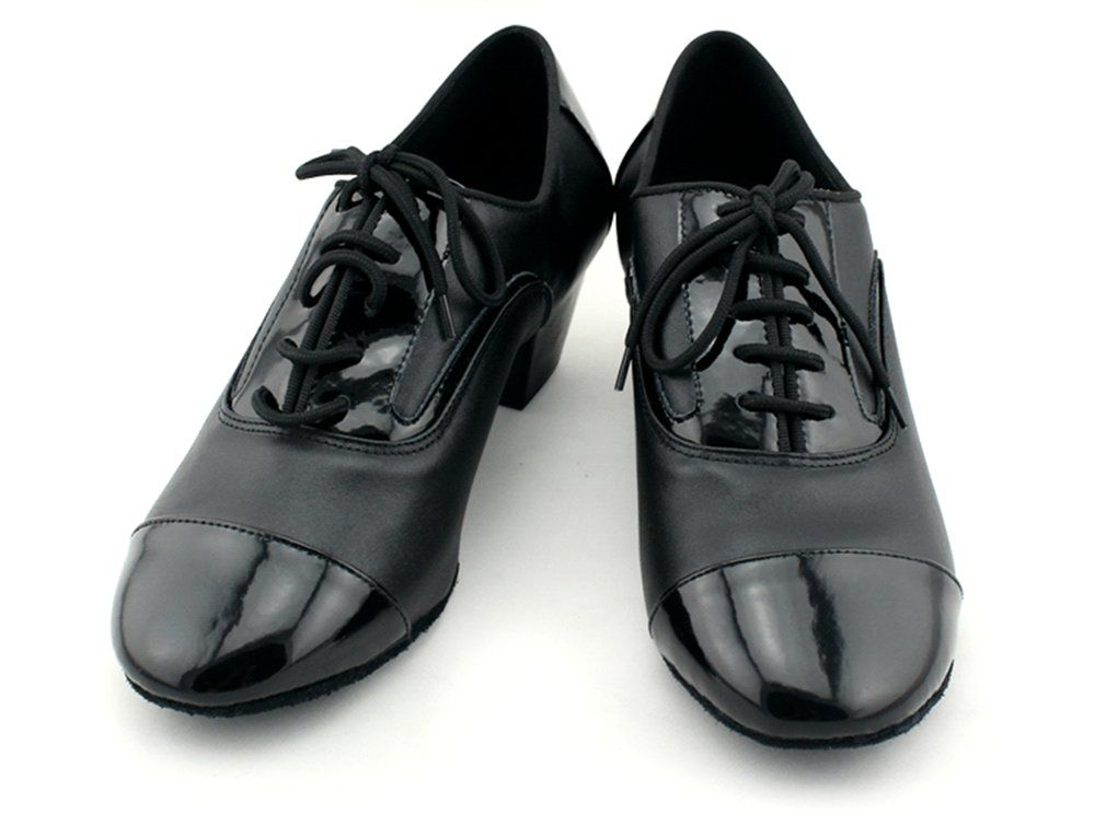 Crc Qj7005 Mens Round Toe Black Leather Lace Up Salsa Tango Ballroom Latin Jazz Modern Dan Modern Dance Shoes Mens Athletic Shoes Sneakers Ballroom Dance Shoes