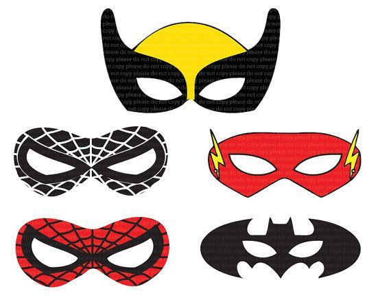 Instant dl 5 superhero mask cut out birthday party printable jpeg super heros - Masque super heros a imprimer ...