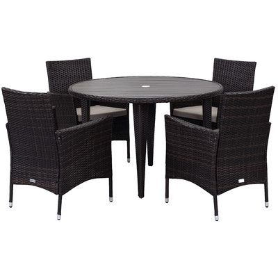 Netherby 6 Piece Dining Set With Cushions Outdoor Furniture Sets