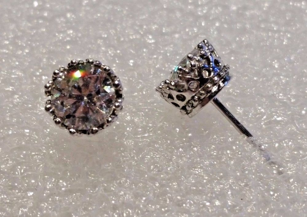 69326b115 ... stud earrings platinum clad on qvc; qvc diamonique cz sterling silver platinum  plated 2 25 tcw crown ...