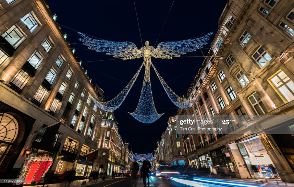 Stock Photo : Christmas Lights at Night, Regent Street, London, UK.