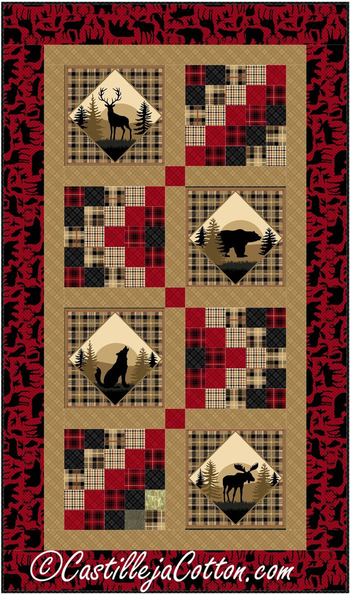 Easy Nature Lap And Throw Northwoods Quilt Pattern Cjc