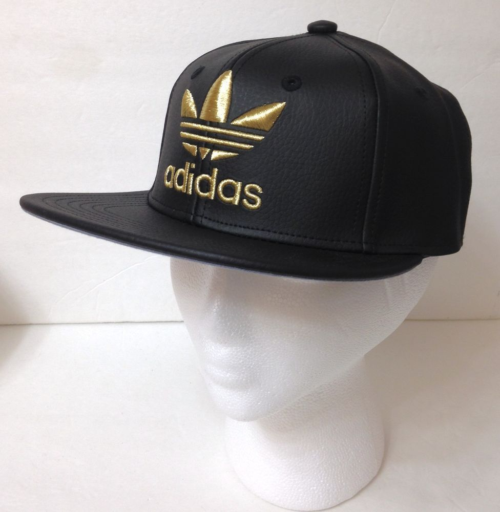f29c16b39553 new YOUTH boy girl kid ADIDAS SNAPBACK HAT Black Leather Look SHINY GOLD  trefoil  adidas  BaseballCap
