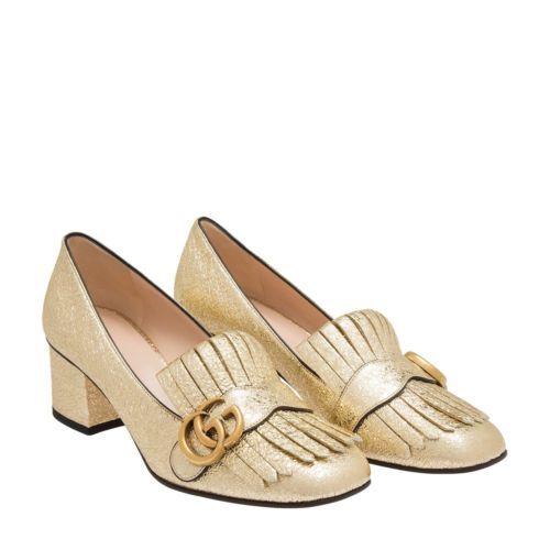 09f5c895224729 Gucci Marmont Metallic Fringe Gold Platino Loafer 37 Block Heels Shoes 7