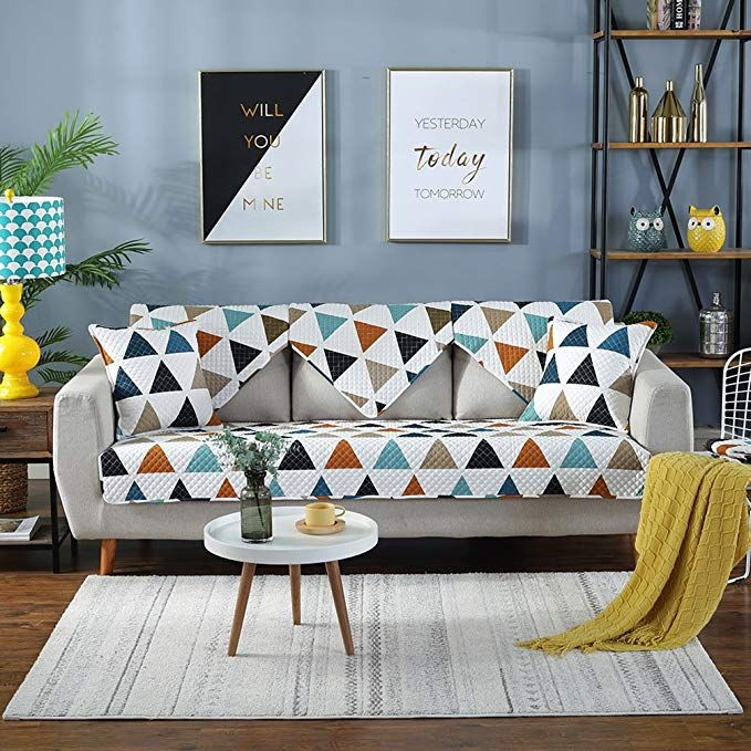 Lesic Polyester Cotton Sofa Slipcover Multicolor Lattice Couch Cover