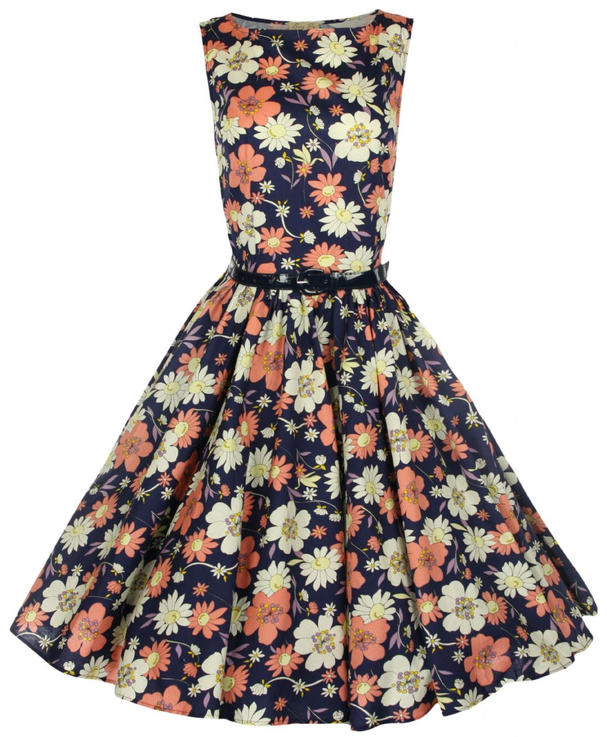 "CLASSY+VINTAGE+1950's+/+AUDREY+HEPBURN+STYLE+FLOWER+PRINT+SWING+DRESS.    •WIDE+FLARED+OUT+FULL+CIRCLE+SKIRT+SECTION.+  •CLASSIC+AND+ICONIC+STYLE+THAT+WILL+NEVER+BE+OUT+OF+FASHION.+  •LIGHTWEIGHT+STRETCH+COTTON+FABRIC.+  •A+26""+PETTICOAT+WILL+BE+REQUIRED+TO+GET+THE+LOOK+IN+THE+PICTURE.+    SIZE+8..."