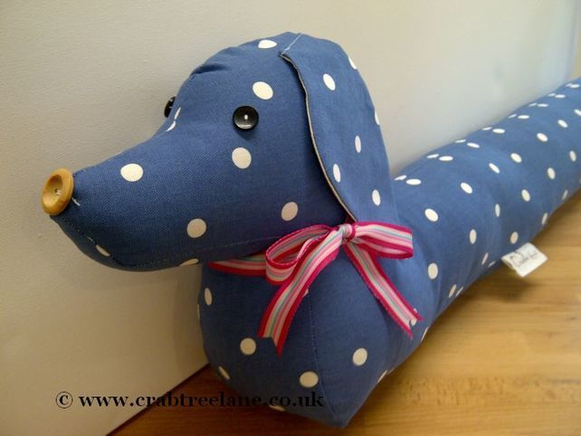 Vintage Style Sausage Dog Draught Draft Excluder - Blue Dotty ...