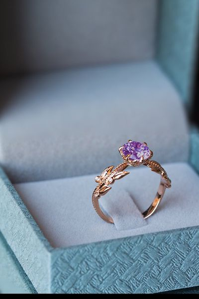 This is a unique nature-nspired boho Amethyst and Diamonds rose gold engagement ring set in a 14K/18K band, the perfect Amethyst purple bohemian anniversary wedding ring.   Our floral Amethyst and Diamonds ring is inspired by the French period. This vintage style engagement ring will not only sparkle your imagination, it will perfectly capture the love you are unable to express using words. #engagementrings #Amethyst #diamond