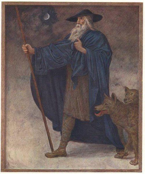 He's the Wanderer, the wanderer, he wanders around around around. Odin/Wotan, the Wanderer, with his wolves, Greki and Freki.