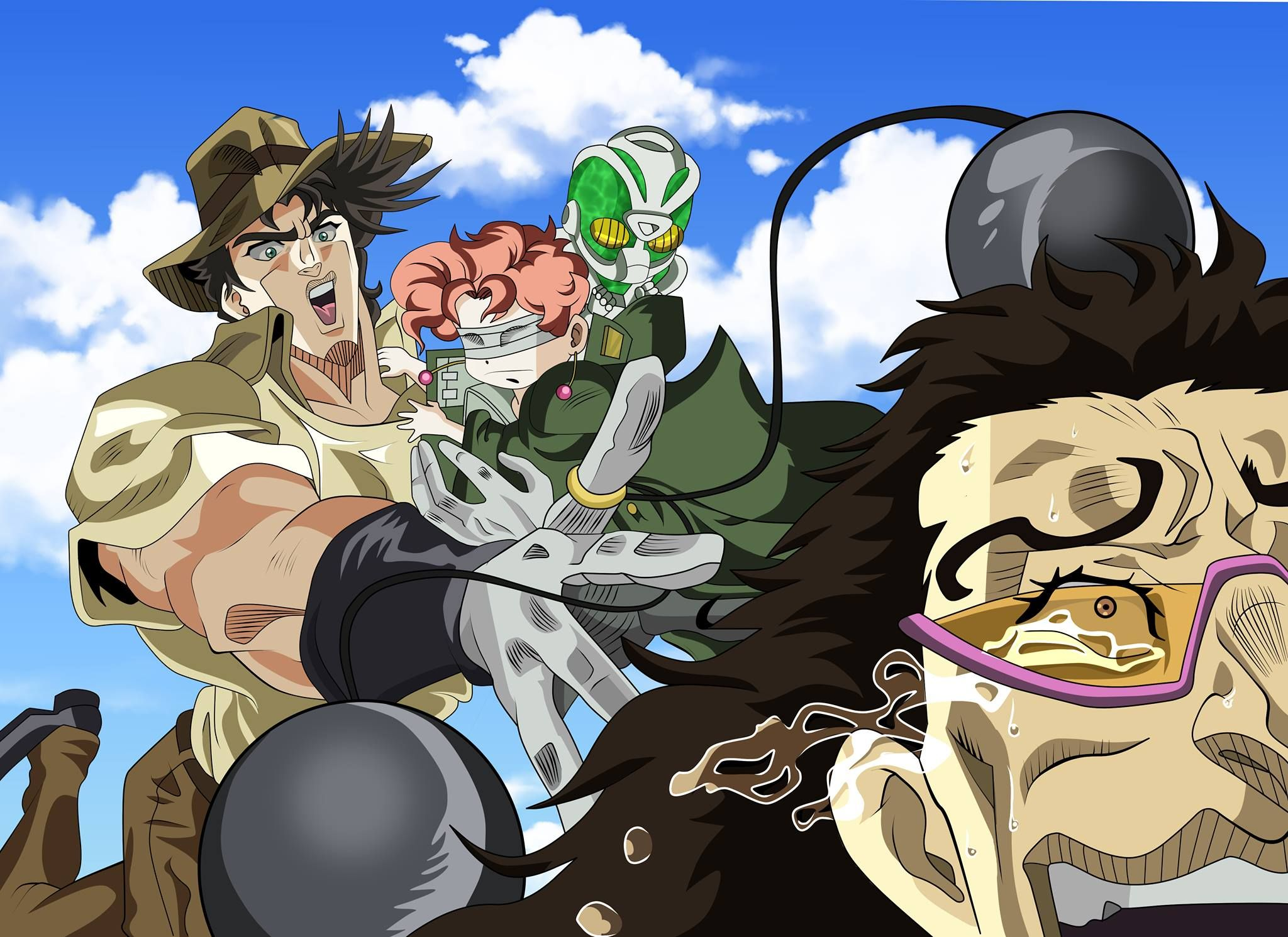 Colored Versions Of The Joseph And Kakyoin Vs Alessi Sketch