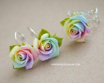 Pastellfarbener Regenbogen Rosen Haarnadel, Polymer Ton rose Haarnadel, blass rose Regenbogenblumen, Krawatte Farbstoff rose Bobby Pin, Regenbogen-Haar-Accessoires #rainbowroses
