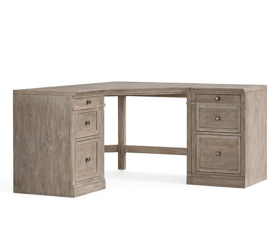 Livingston Small Corner Desk Gray Wash Corner Desk