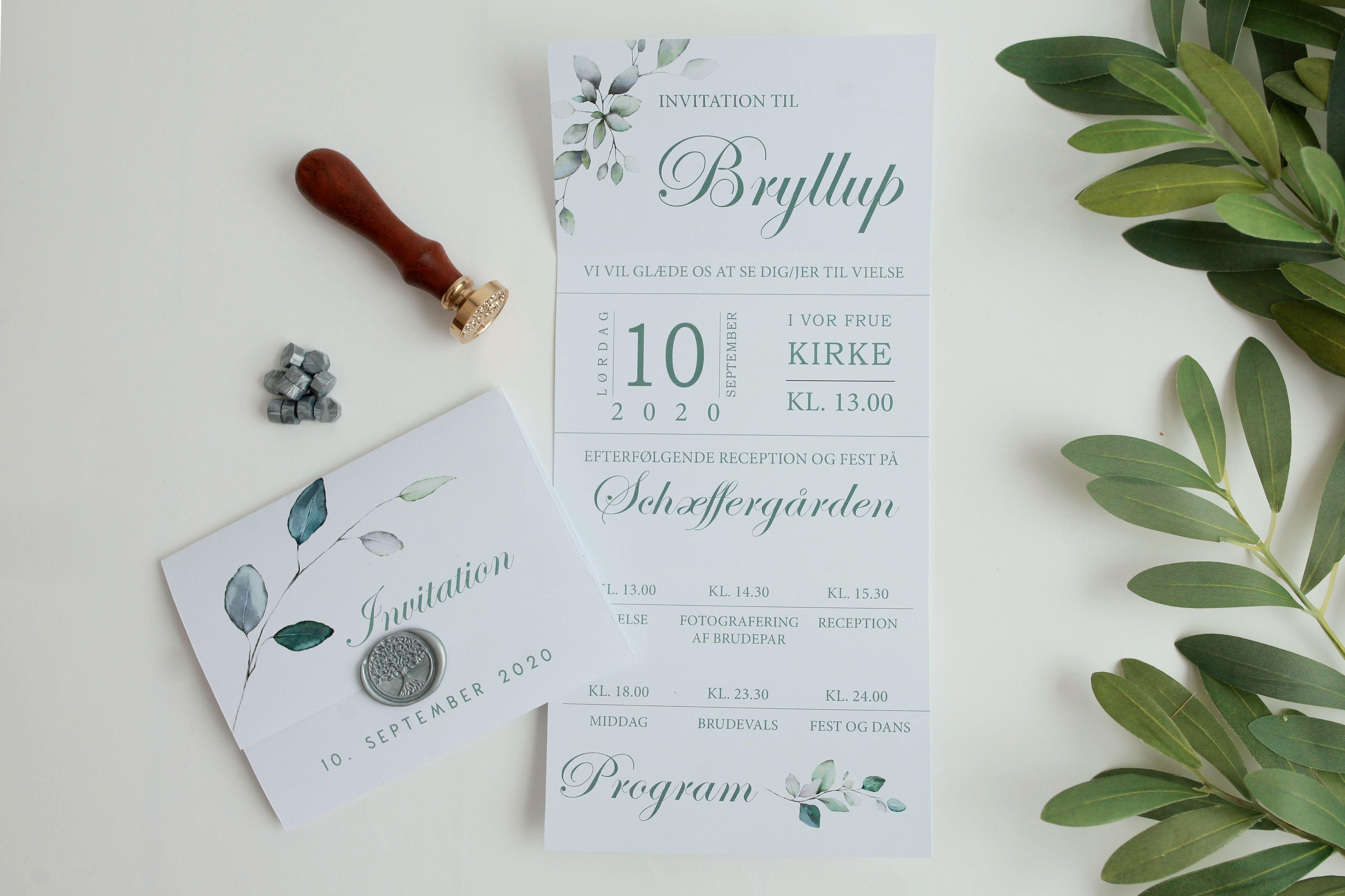 Green Branch Invitationsdesign Bryllupsinvitationer Reception