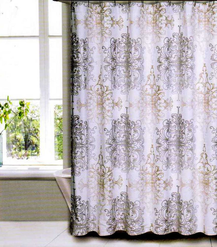 TAHARI HOME COLLECTION DAMASK SCROLL MEDALLION LUXURY FABRIC SHOWER CURTAIN FrenchCountry