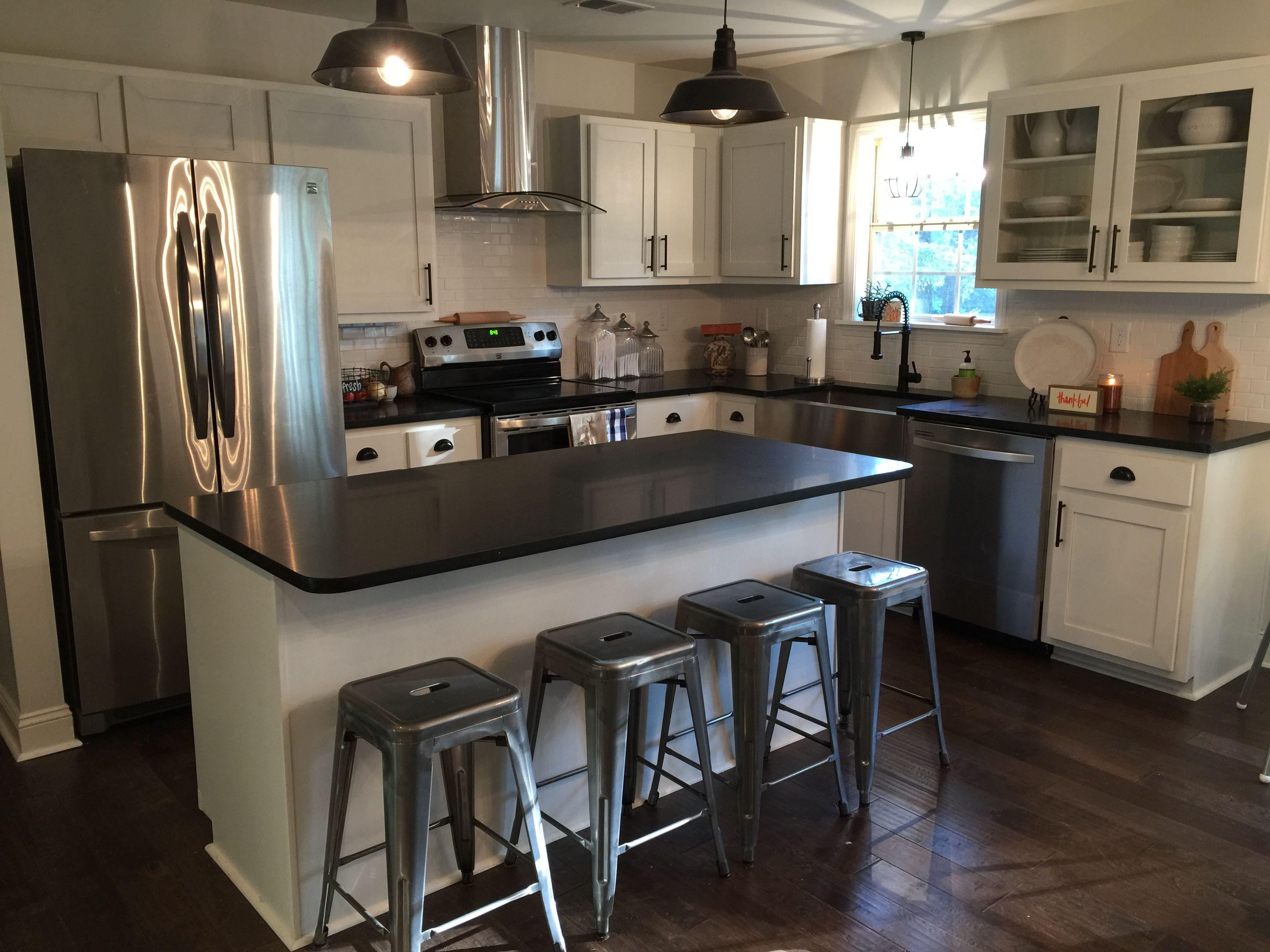 Farm kitchen, white cabinets, black granite, Paper White ...