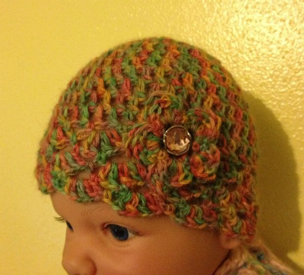 Alpaca Baby Hat with Flower and Rhinestone button. $17.00, via Etsy.