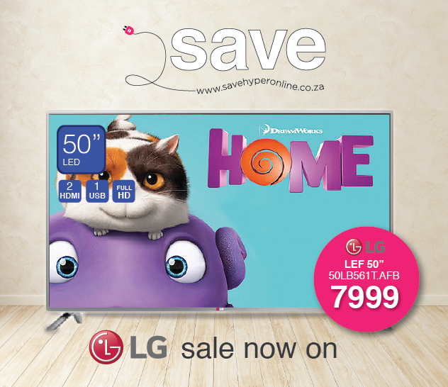 Save thousands this week #savehyperonline with LG. Get the #LG 50LB561 50 inch led TV at an incredible R7999.00 including delivery nationwide. Buy Now >>> http://savehyperonline.co.za/