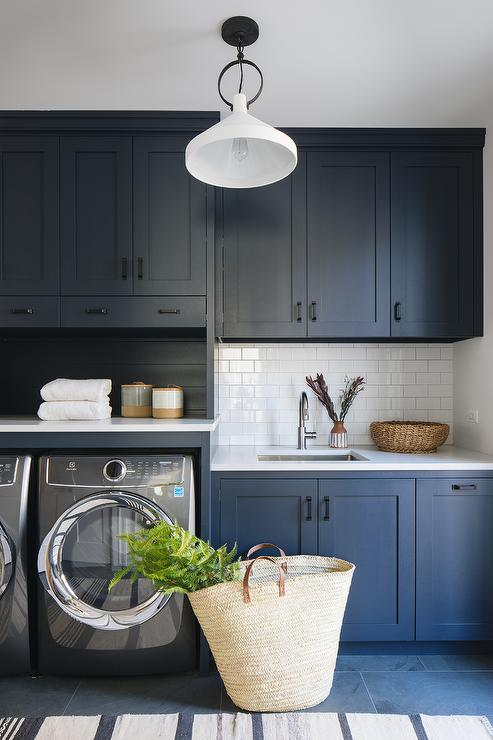 Blue Shaker Laundry Room Cabinets with Matte Black Pulls - Transitional - Laundry Room