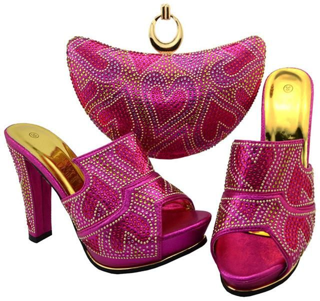 African Sets Red Color Matching Shoes and Bags  9c56f280d453