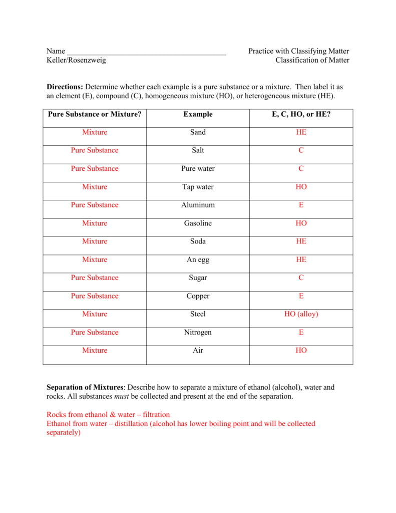 Classification Of Matter Worksheet Chemistry Answer Key ...