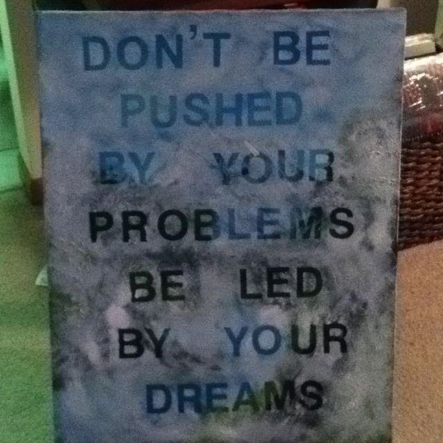 Canvas wall art .. Got a canvas painting at a thrift store, used stick on letters to write a saying, painted over with white acrylic paint.