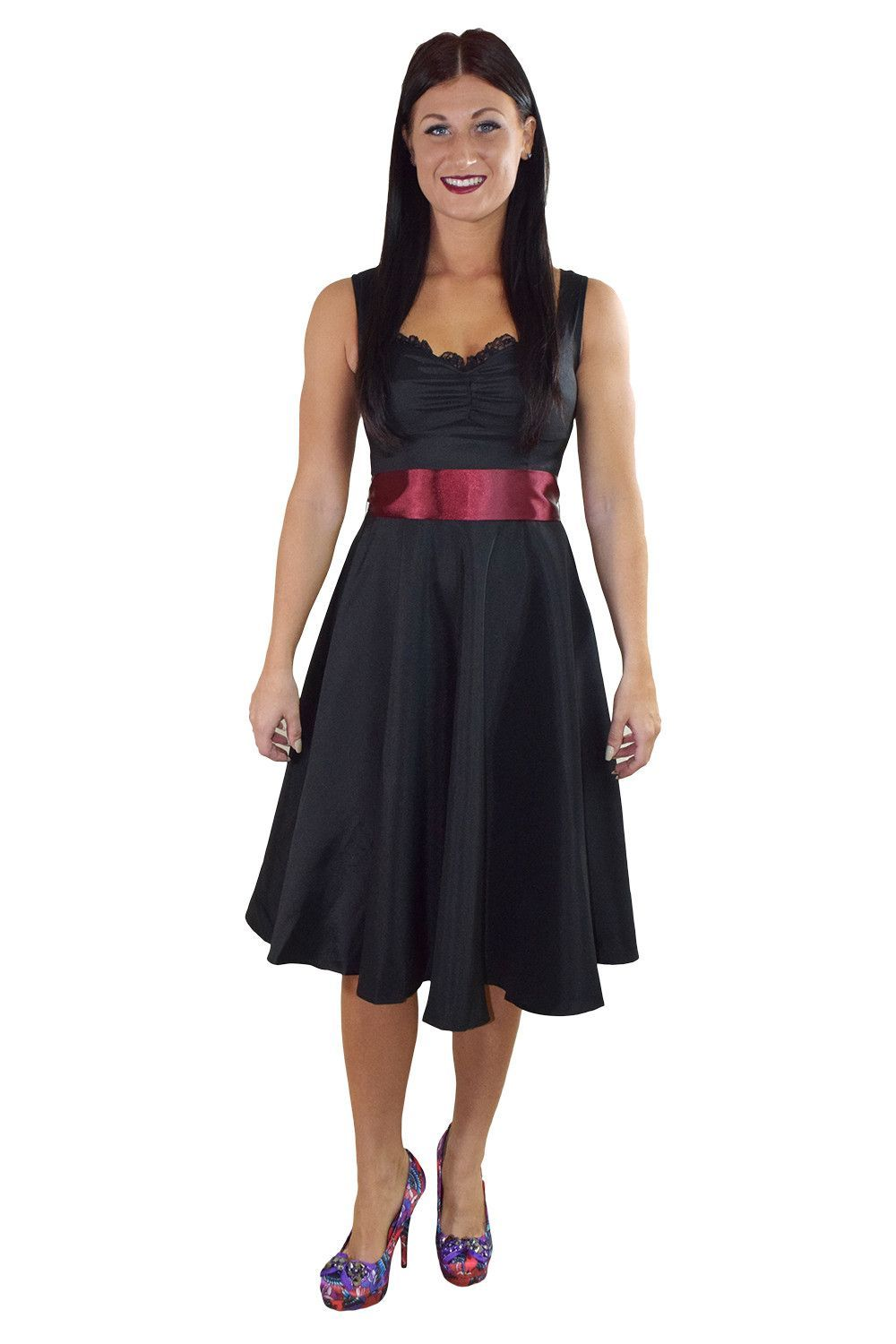 64163dcf55 60 s Vinatge Retro Design Little Black Satin Dress with Burgundy Sash  Ribbon Belt
