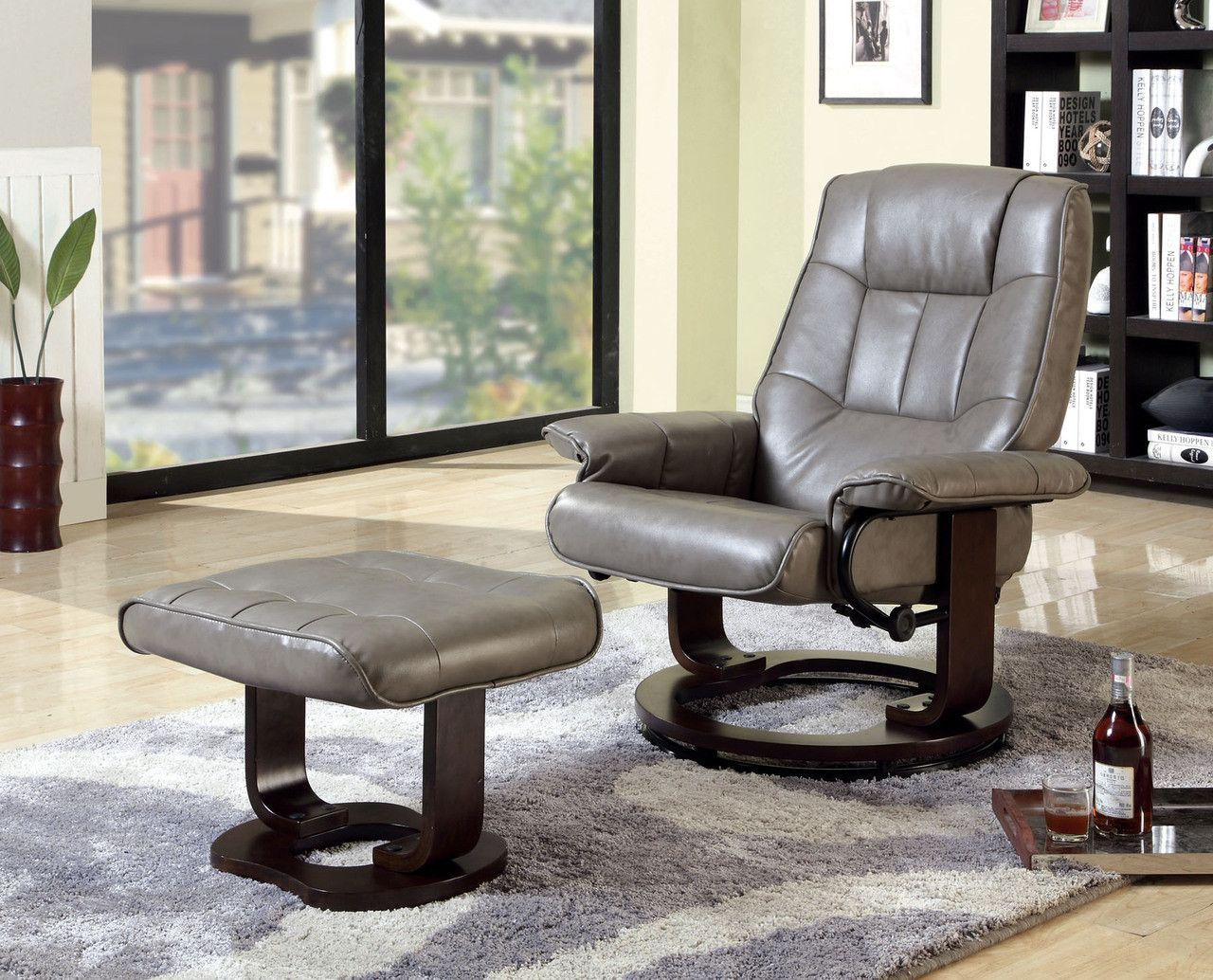 Cheste swivel lounger chair in gray w ottomancmrc6920gy
