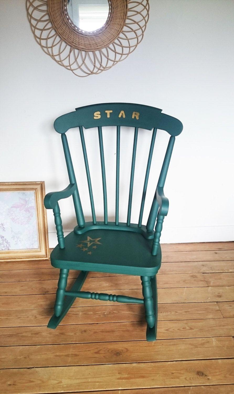 rocking chair vintage vert meraude de la boutique. Black Bedroom Furniture Sets. Home Design Ideas
