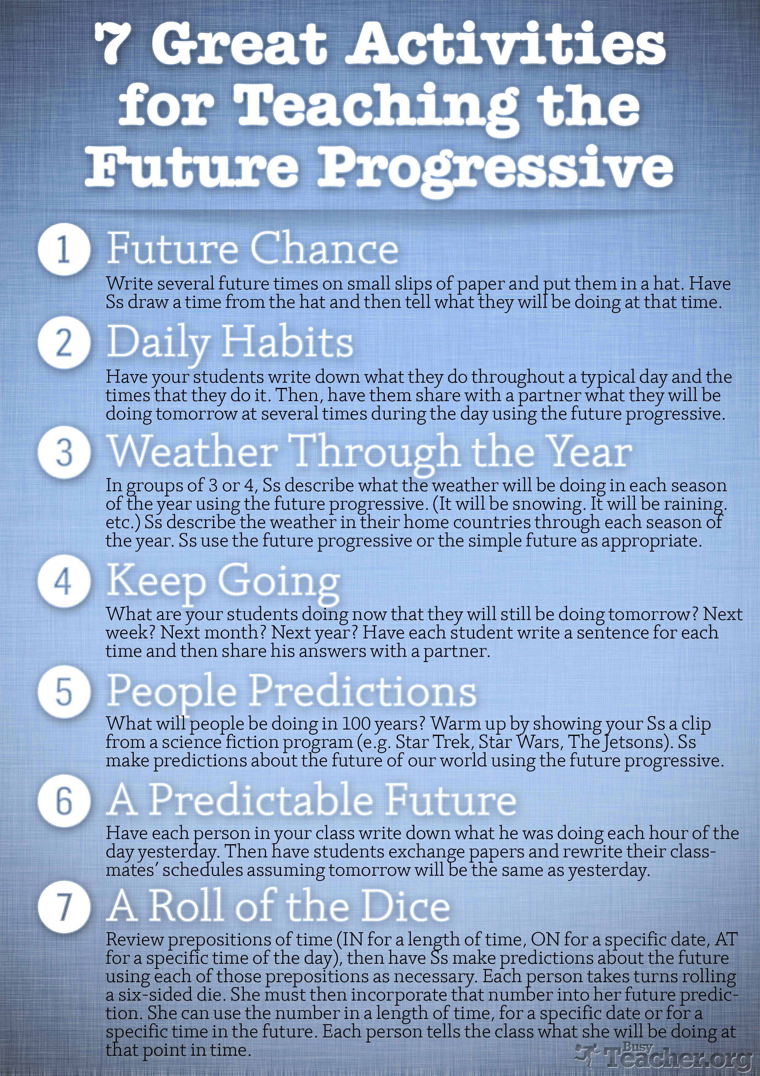 7 Great Activities To Teach The Future Progressive Poster