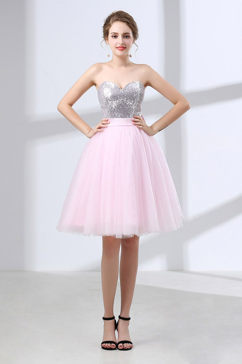 Beautiful Pink Bow Homecoming Dress With Sparkly Silver Sequins ...