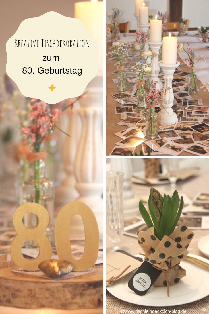 Tischdekoration Zum 80 Geburtstag Mit Tollem Tischlaufer Aus Alten Fotos Runder Geburtstag Ideen Tischdekoration Geburtstag Geburtstag Dekoration