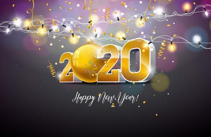 صور Happy New Year 2020 Holiday Design Christmas Balls New Year Illustration