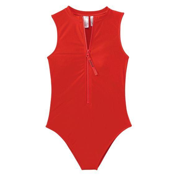 Hochgeschlossen geschnittener Badeanzug von Calvin Klein mit Reißverschluss  vorn.