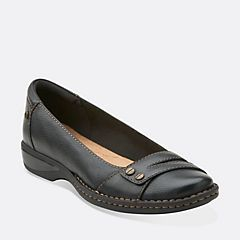 Pegg Abbie Black Leather - Clarks Womens Shoes - Womens Heels and Flats -  Clarks - Clarks® Shoes