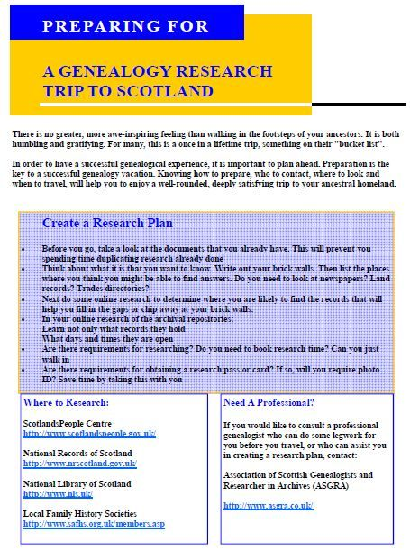 Genealogy Tours of Scotland: New Resources for Planning Your