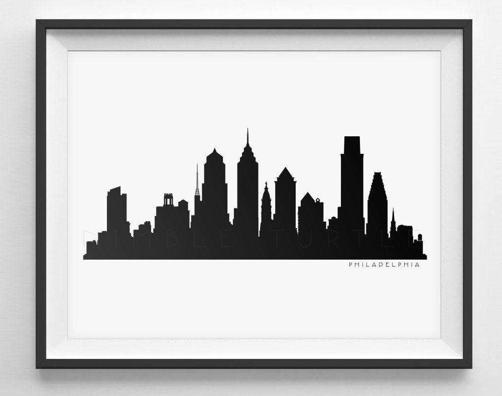 Philadelphia Skyline Silhouette Printable Skyline Etsy Philadelphia Skyline Skyline Silhouette Bird Silhouette