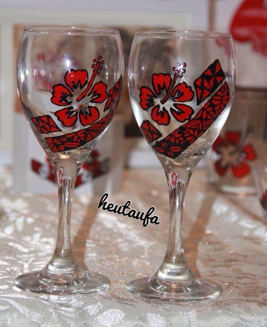 Hibiscus Wine Glass 1 Kaute Kula Tonga Wine Glass Glass Glassware