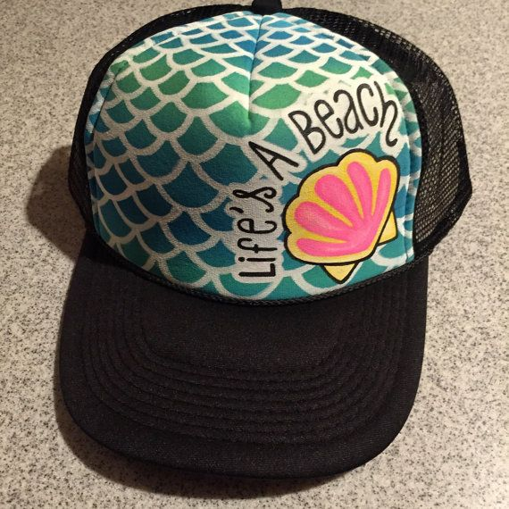 d3a521aeb38af2 Lifes a beach Handpainted trucker hat scales by JulesJewelsJewelry ...
